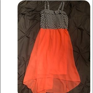 Dresses & Skirts - Black and white top with orange bottom dress